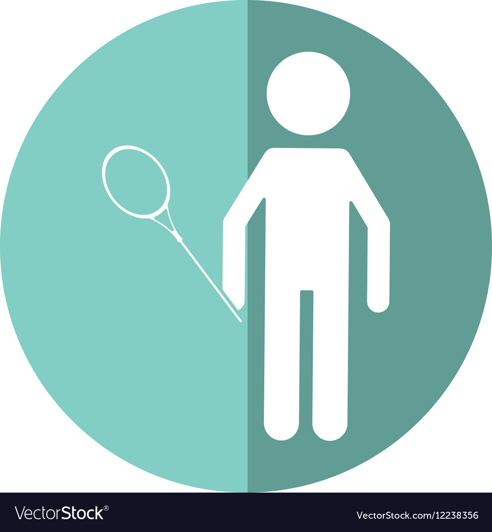 Character badminton player racket shadow vector image