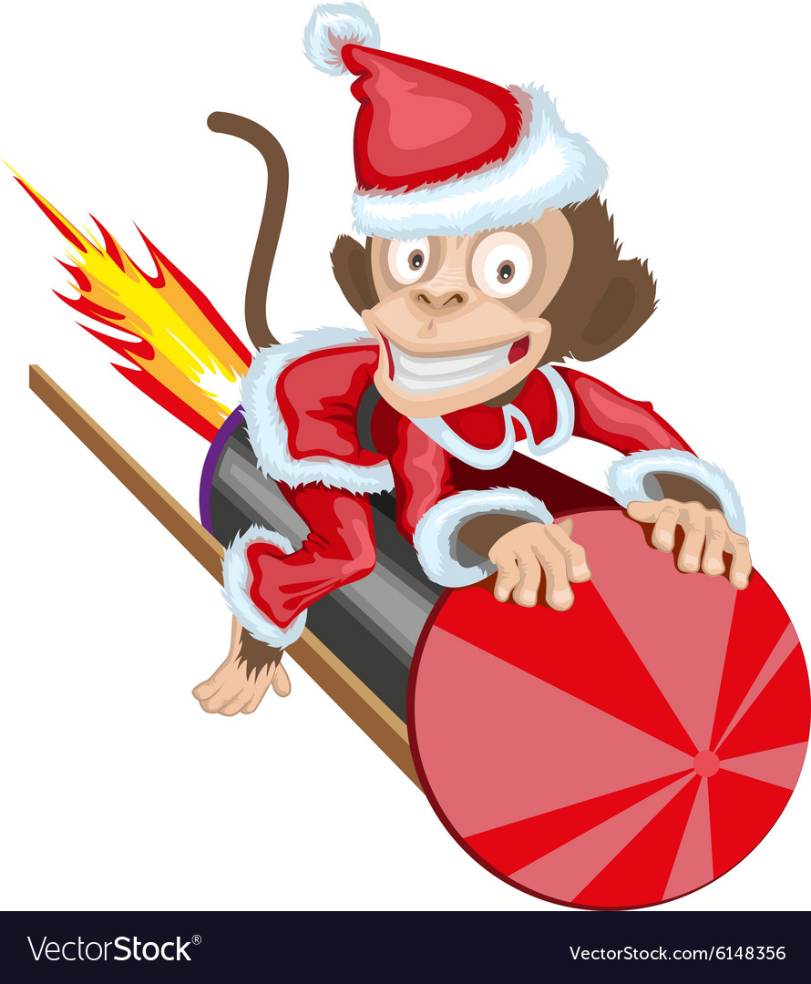 Christmas Monkey Santa flying on firework rocket