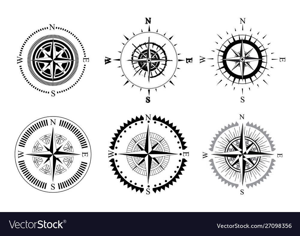 Collection logos compass stylized sea