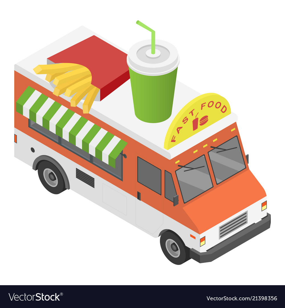 Fast food truck icon isometric style