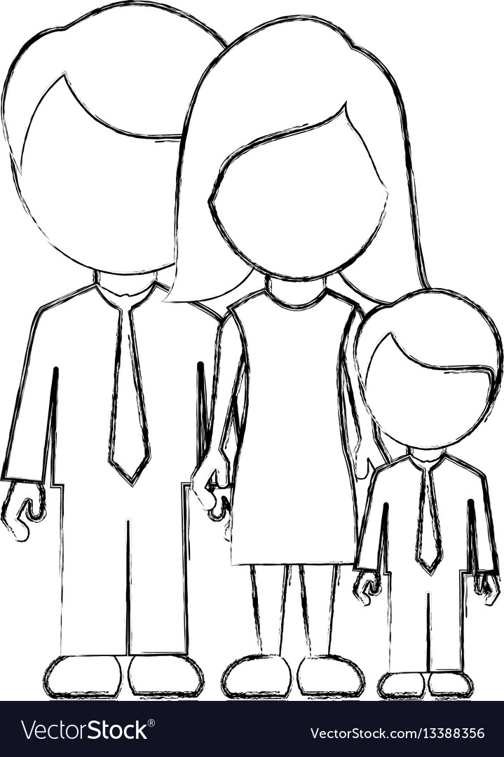 Figure family with their son icon