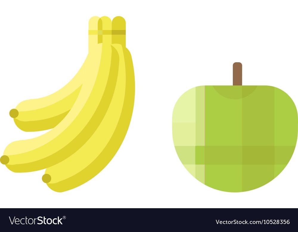 Fresh Green Apple And Banana Icon Royalty Free Vector Image