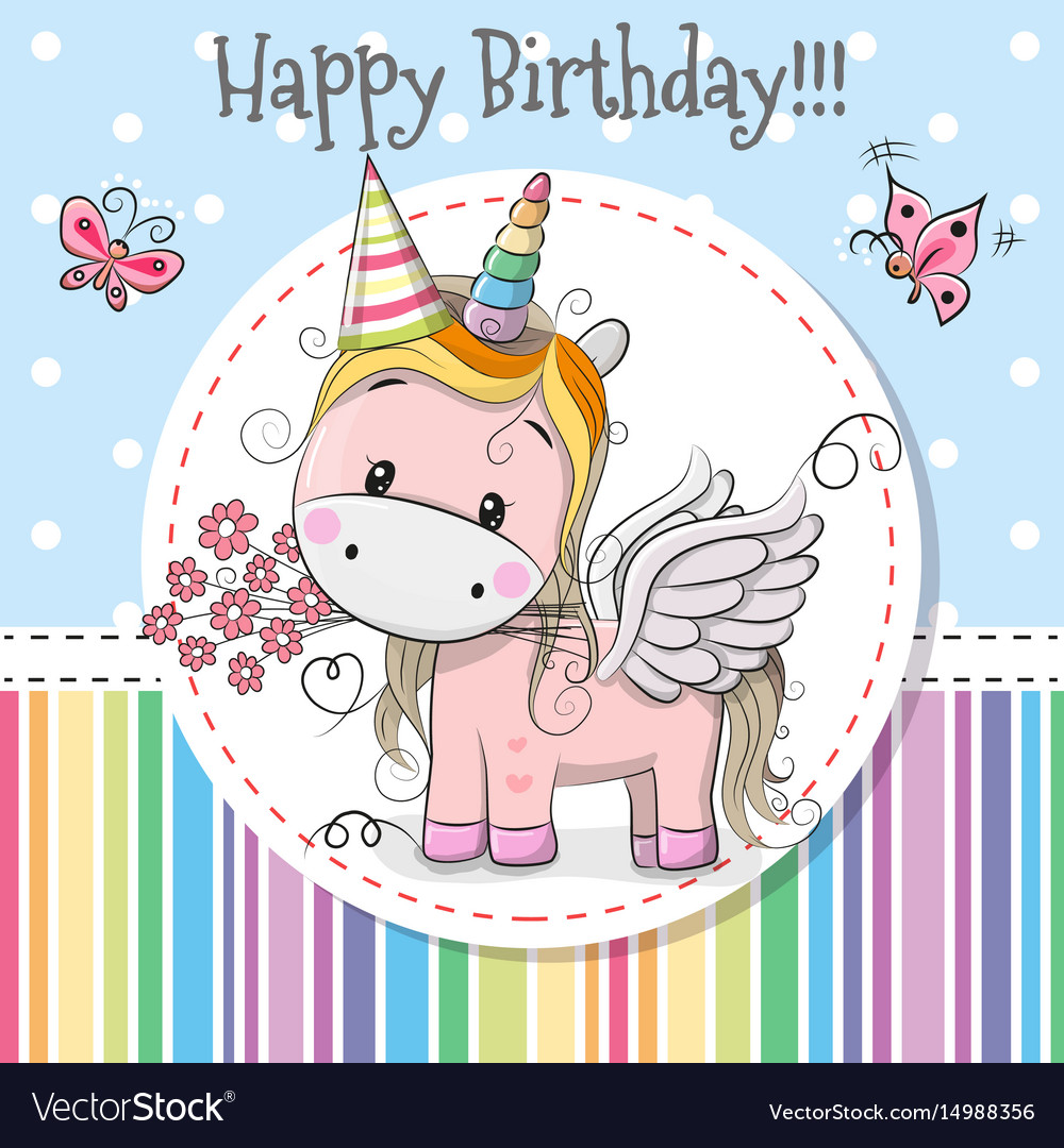Greeting Card Cute Unicorn Royalty Free Vector Image
