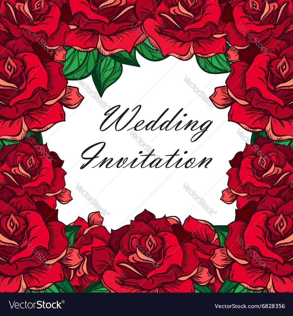 Hand Drawn Wedding Rose Frame