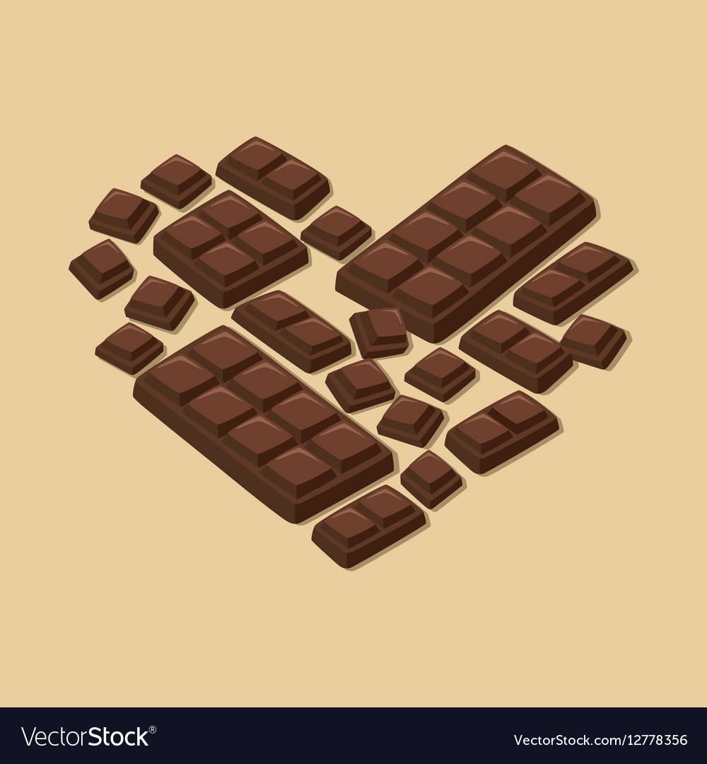 Heart Dark Chocolate Bar Valentines Day vector image