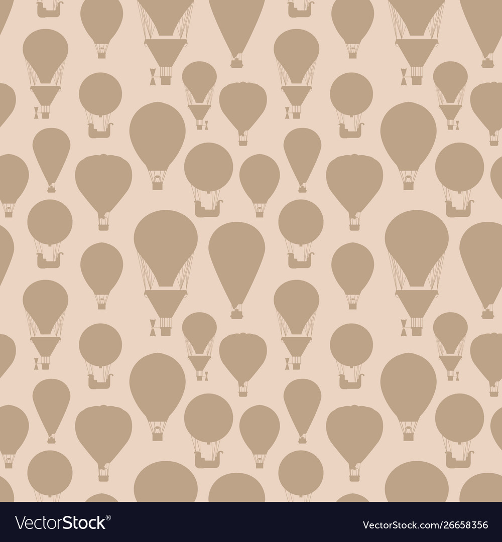 Hot air balloons silhouettes vintage seamless