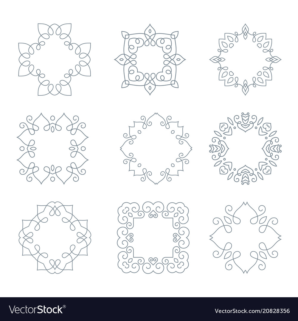 Monochrome monogramm collection vector image