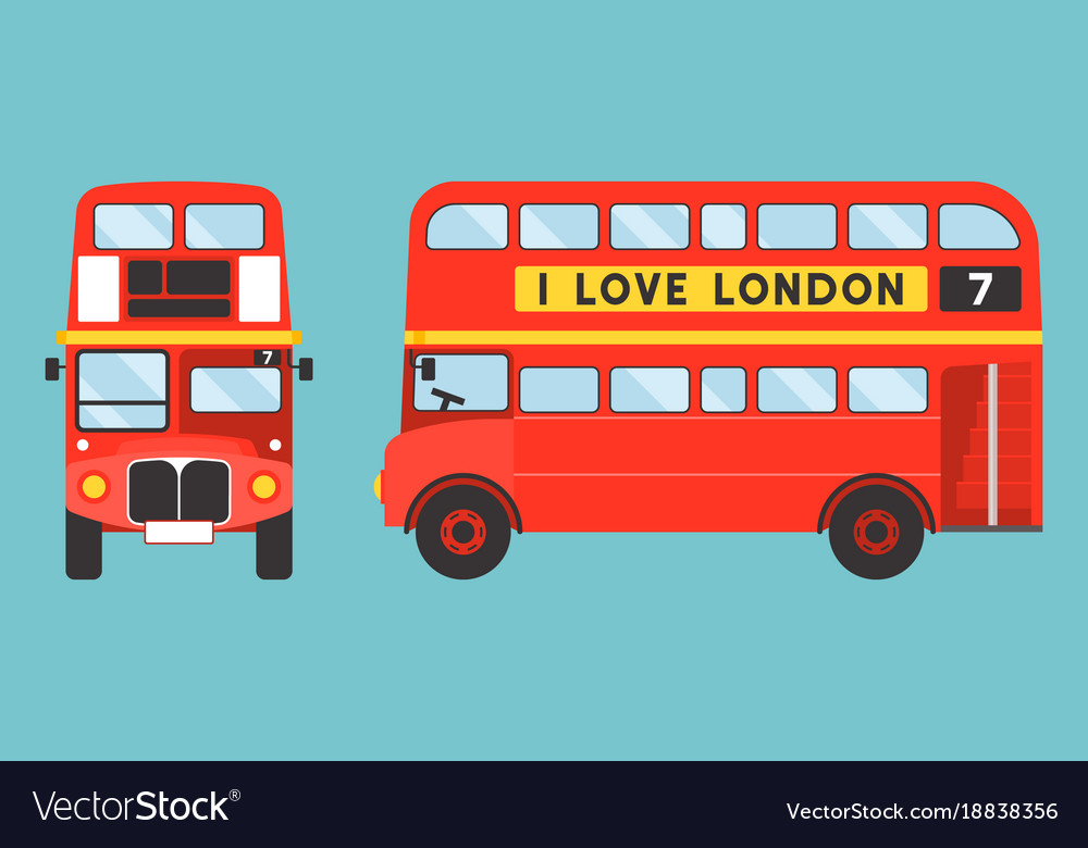 Red double-decker bus icon front and side view