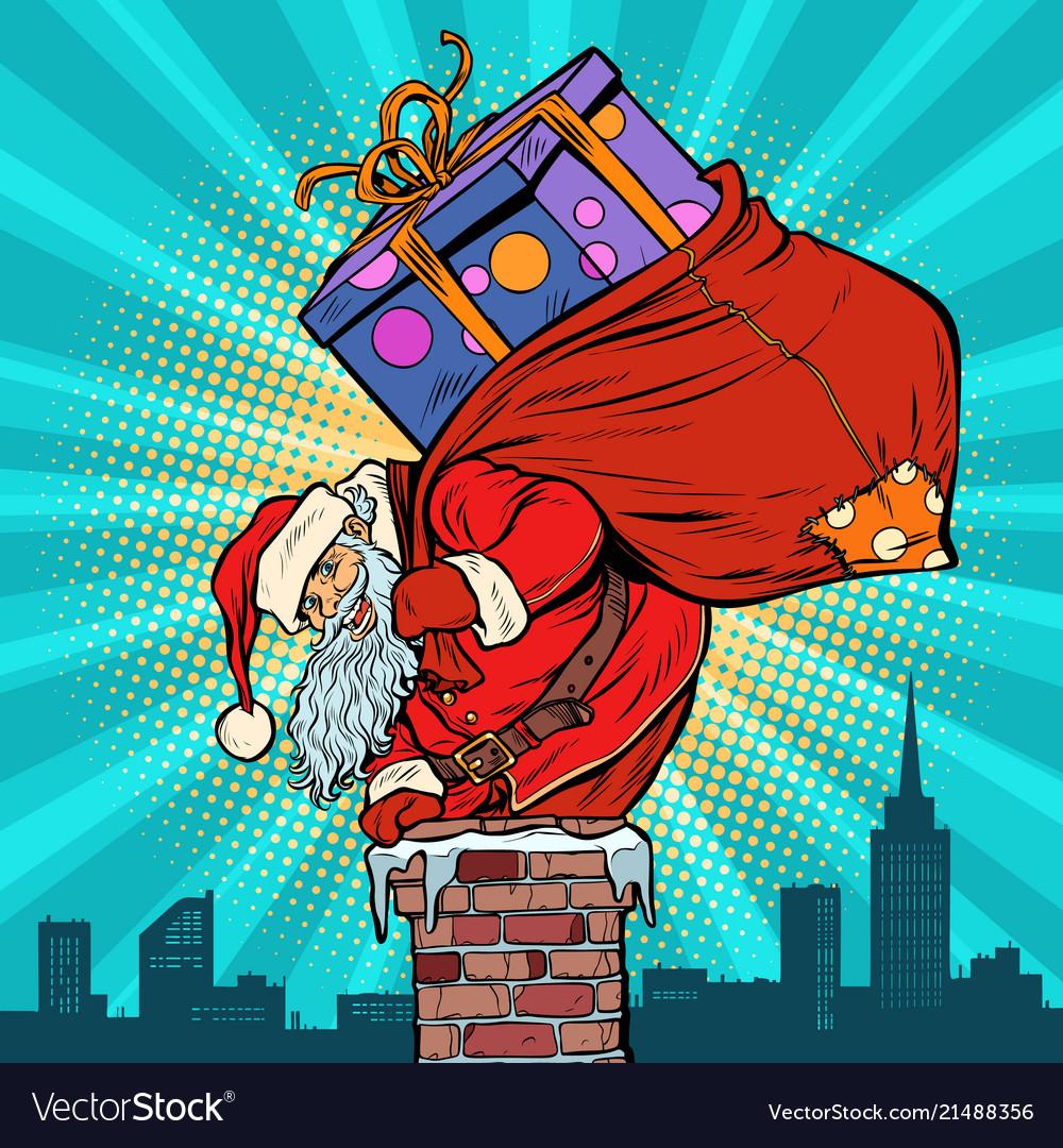 Santa claus with bag presents climbing into the
