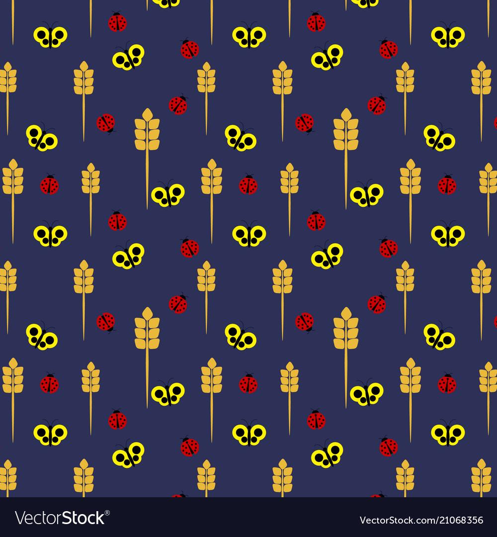 Seamless pattern of ladybirds and butterflies