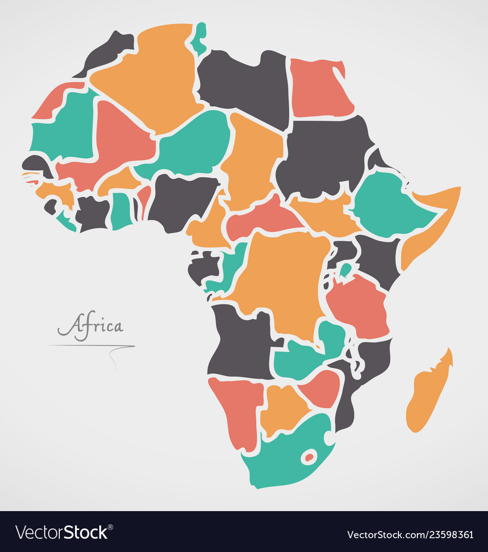Modern Map Of Africa.Africa Continent Map With States And Modern Round