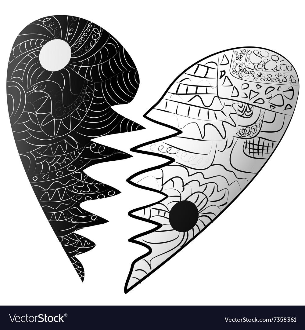 Black and white broken heart drawn Zentangle style