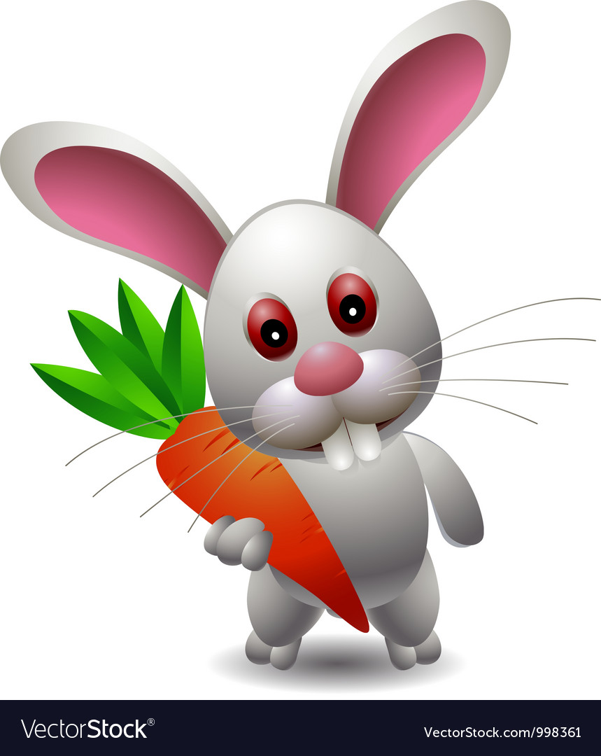 Cute rabbit cartoon with carrot vector image