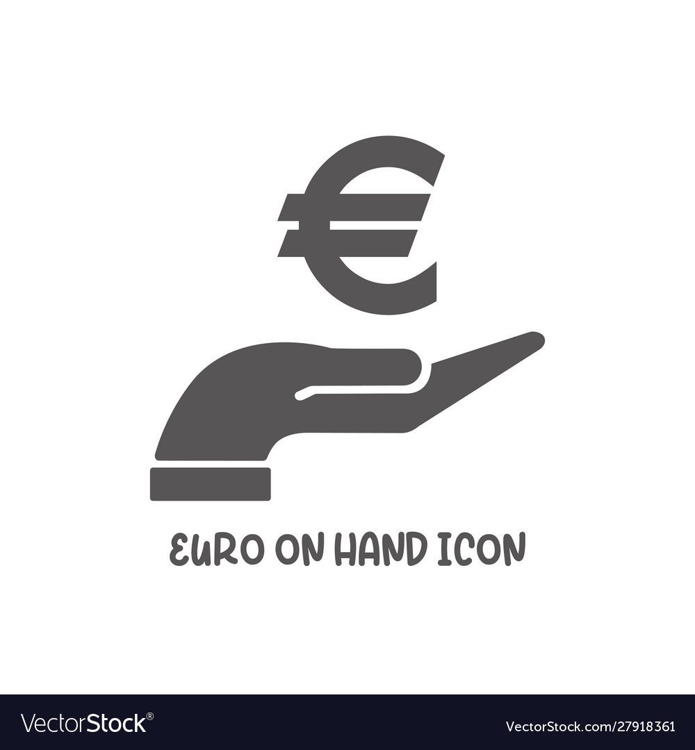 Euro on hand icon simple flat style