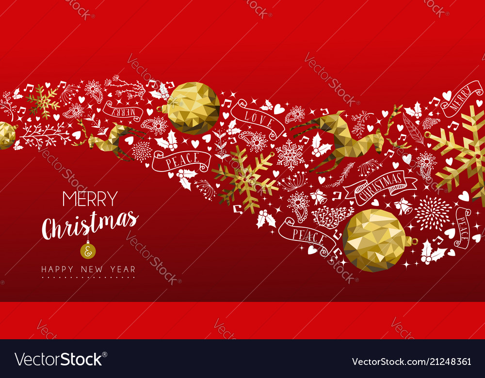 Gold deer christmas and new year web banner