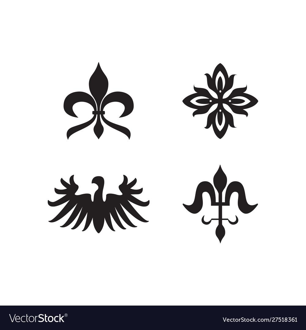 Heraldry royal symbols and elements black icons
