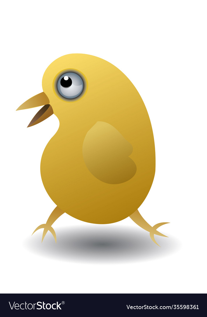 Isolated yellow chicken in cartoon style