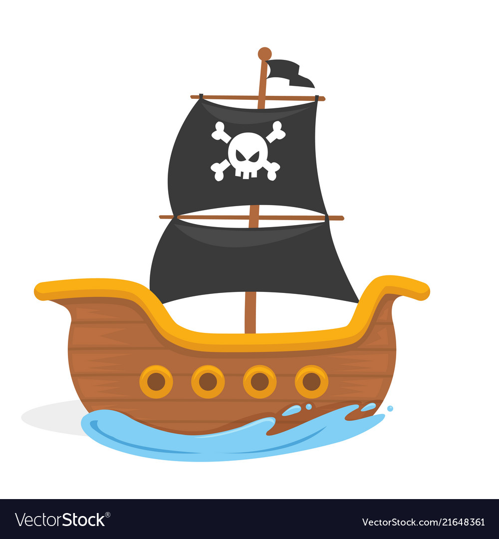 Kids pirate ship in the ocean Royalty Free Vector Image