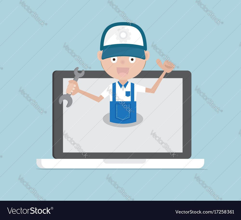 Man holding wrench on laptop system maintenance
