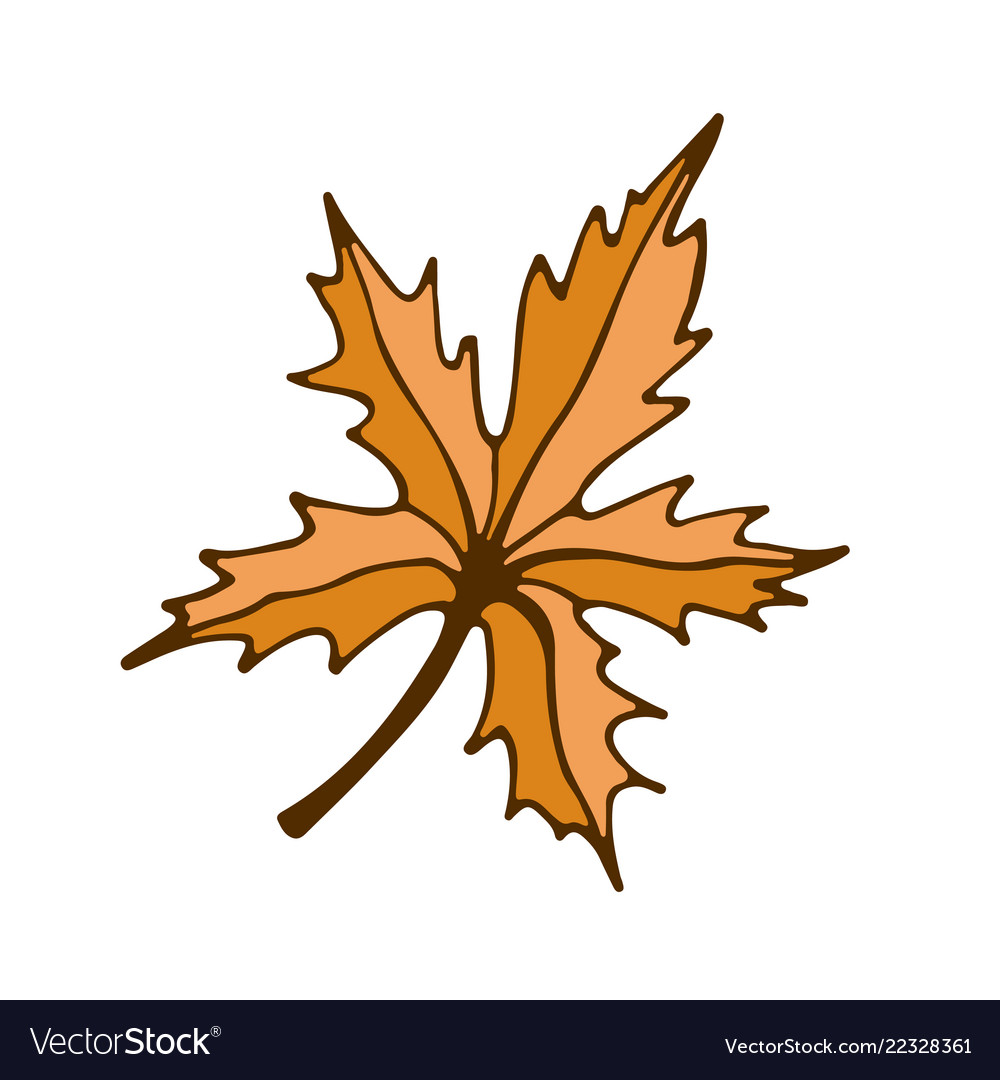 Maple Leaf Icon Hand Drawn Print Sticker