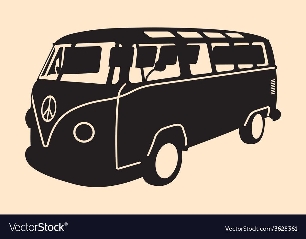 Minivan Hippie Silhouette Vector Image