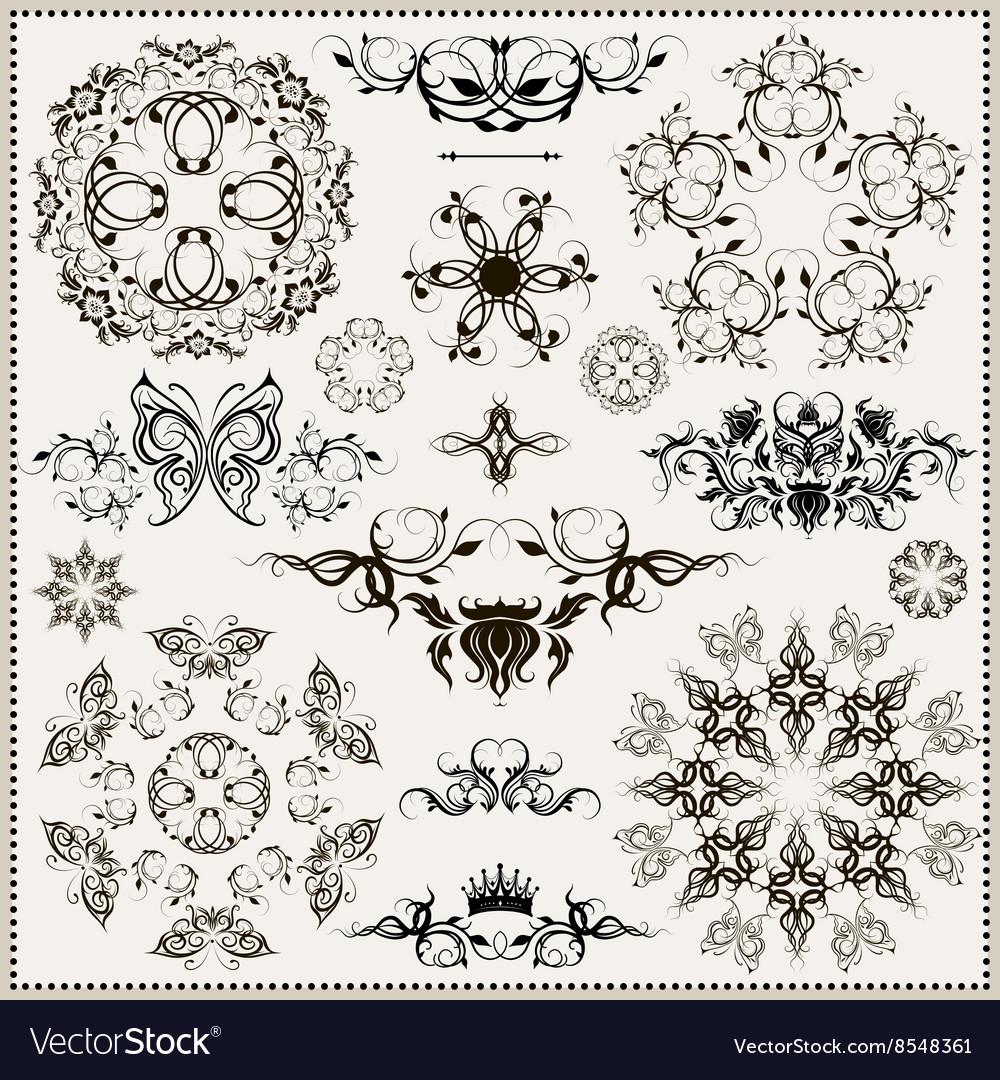 Set of elegant calligraphic design elements