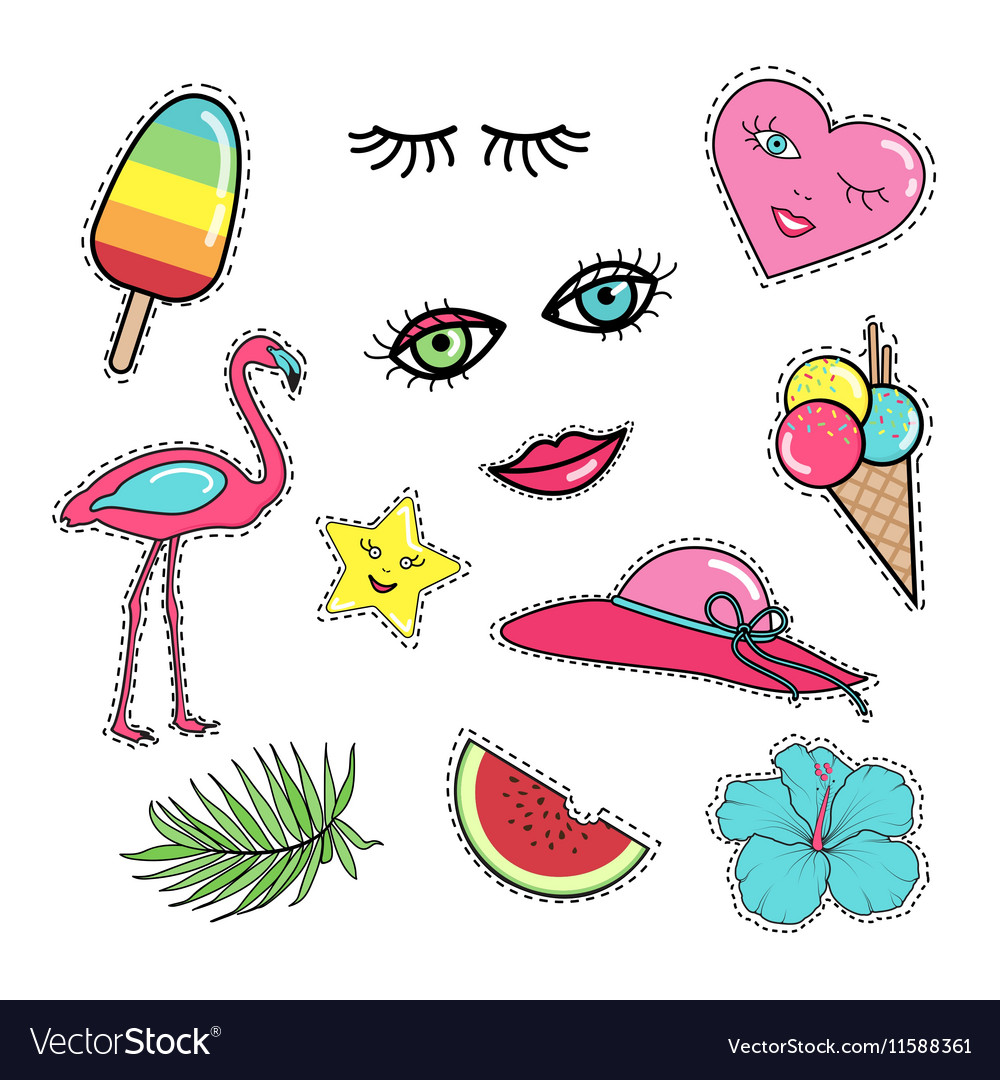 Set of fashion patch badges stickers 80s-90s style