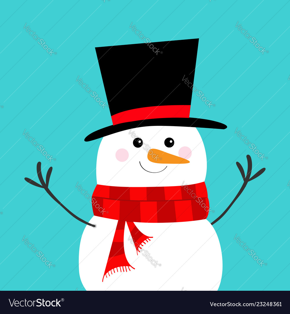 9713609f21161 Snowman carrot nose black hat red scarf merry Vector Image