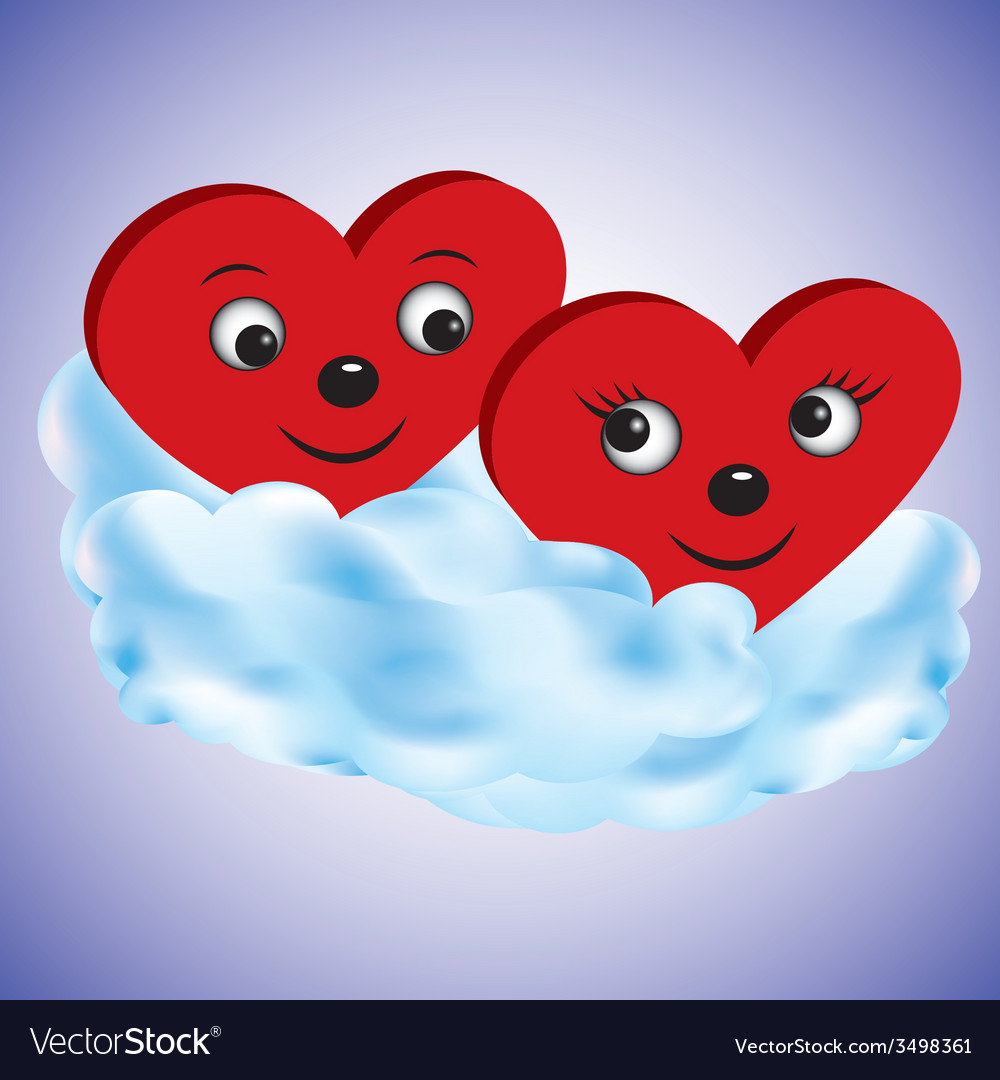 Two hearts on a cloud vector image