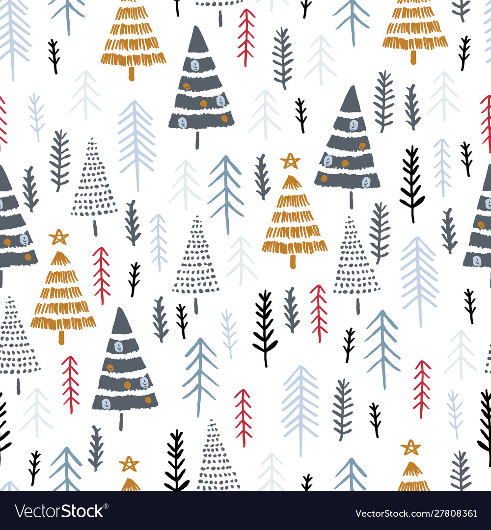Winter seamless pattern with christmas trees