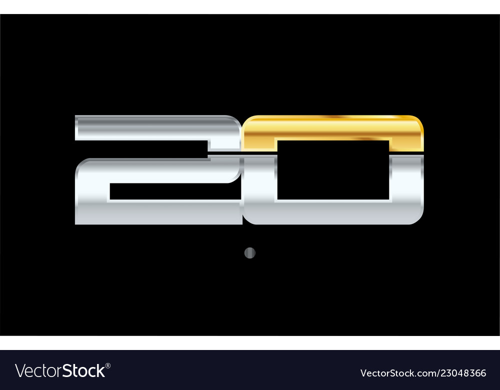 20 number silver gold logo icon design