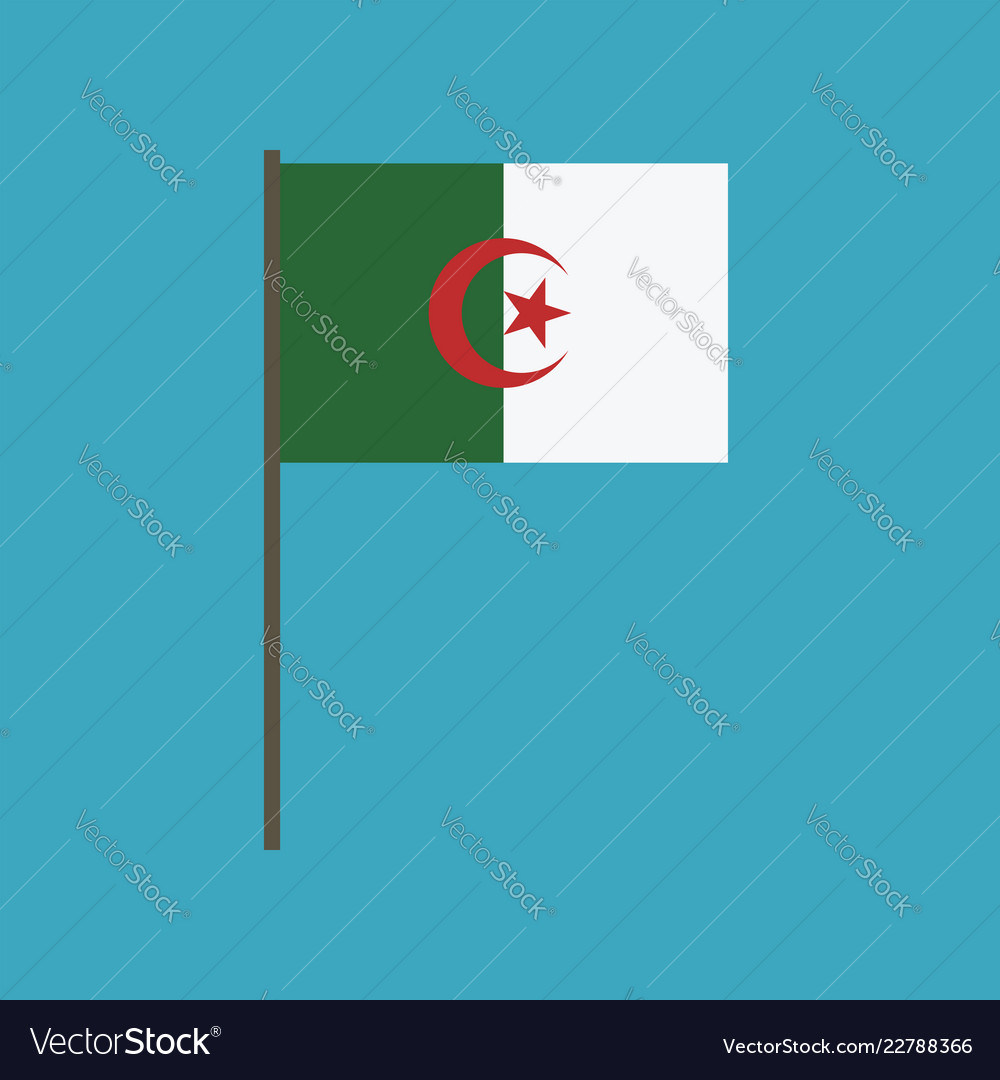 Algeria flag icon in flat design