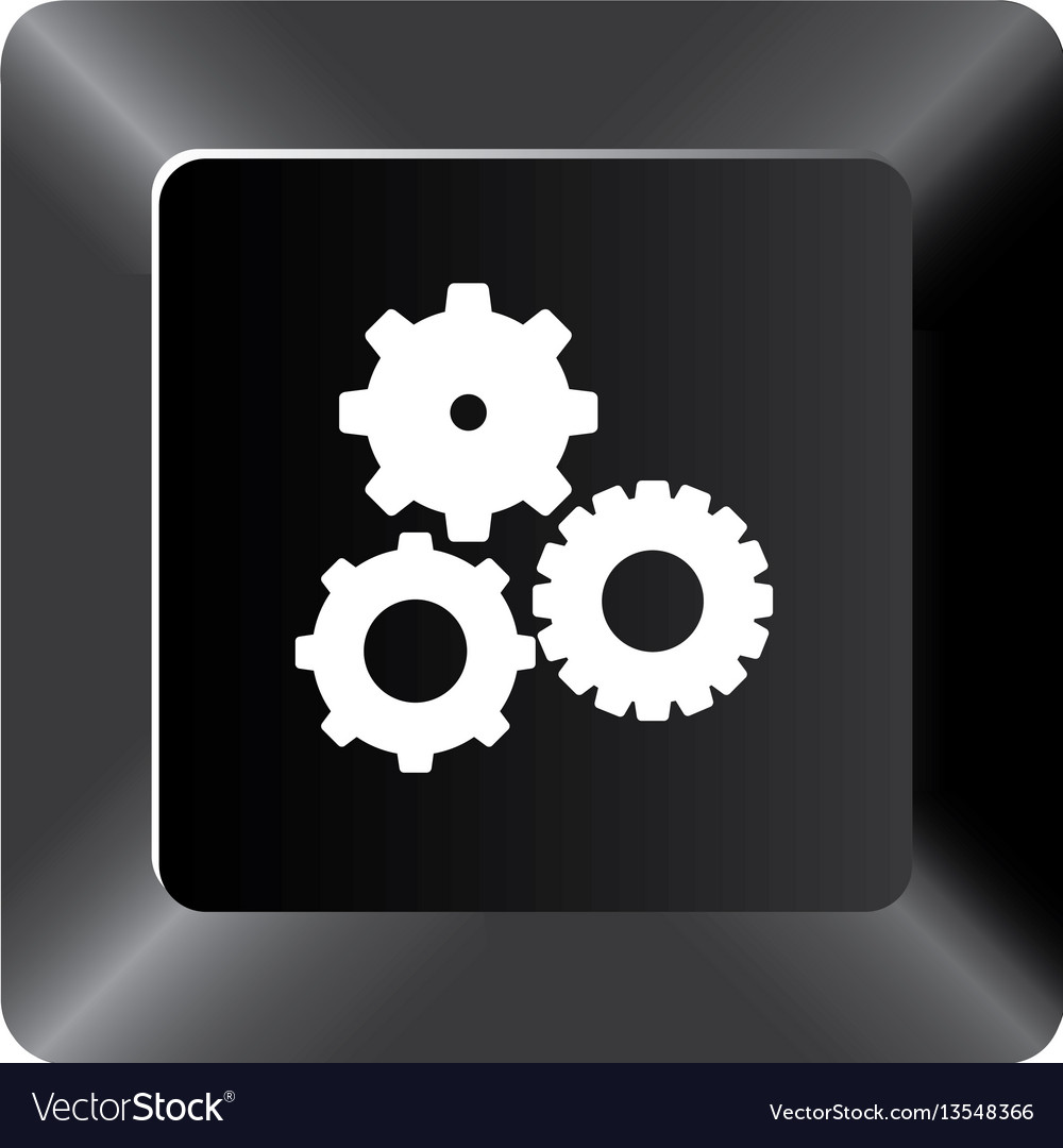 Black button gear icon vector image