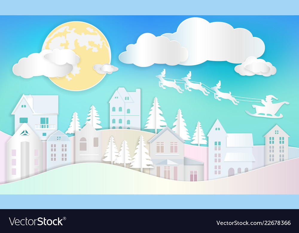 Christmas background santa clause with reindeer