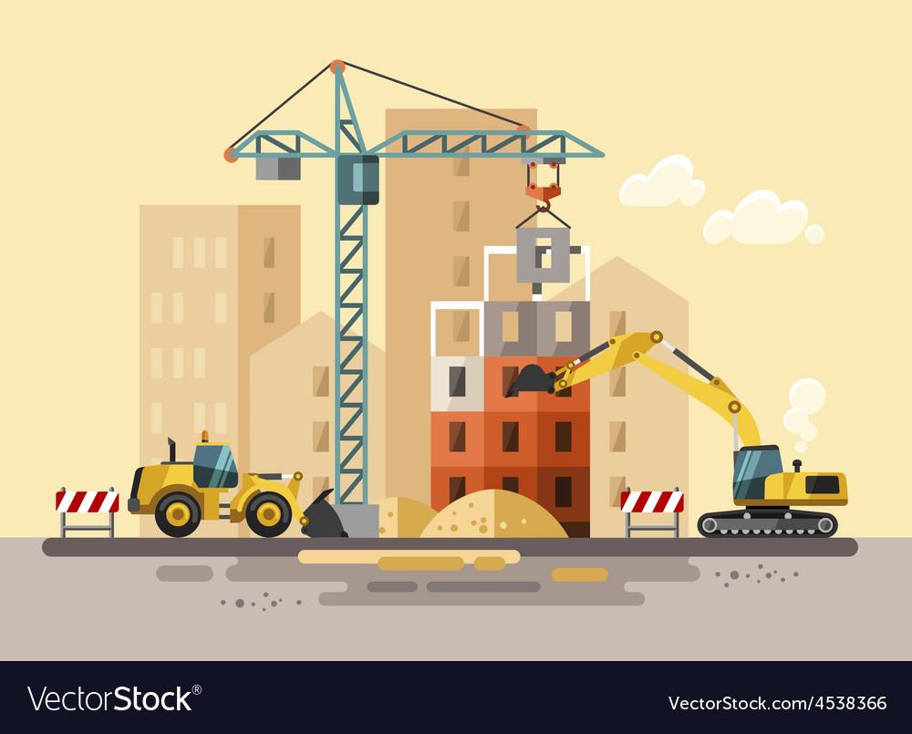 Construction site building a house