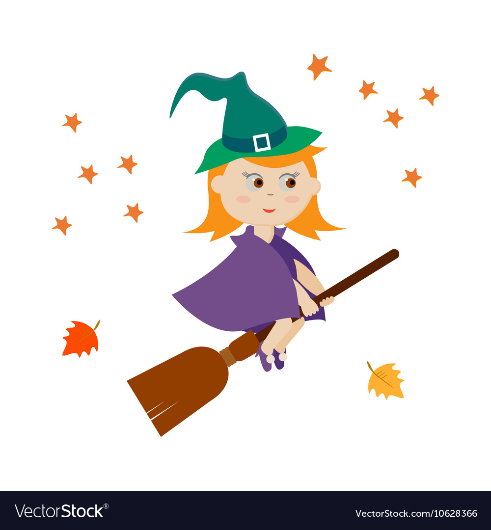 Cute witch flying on a broom