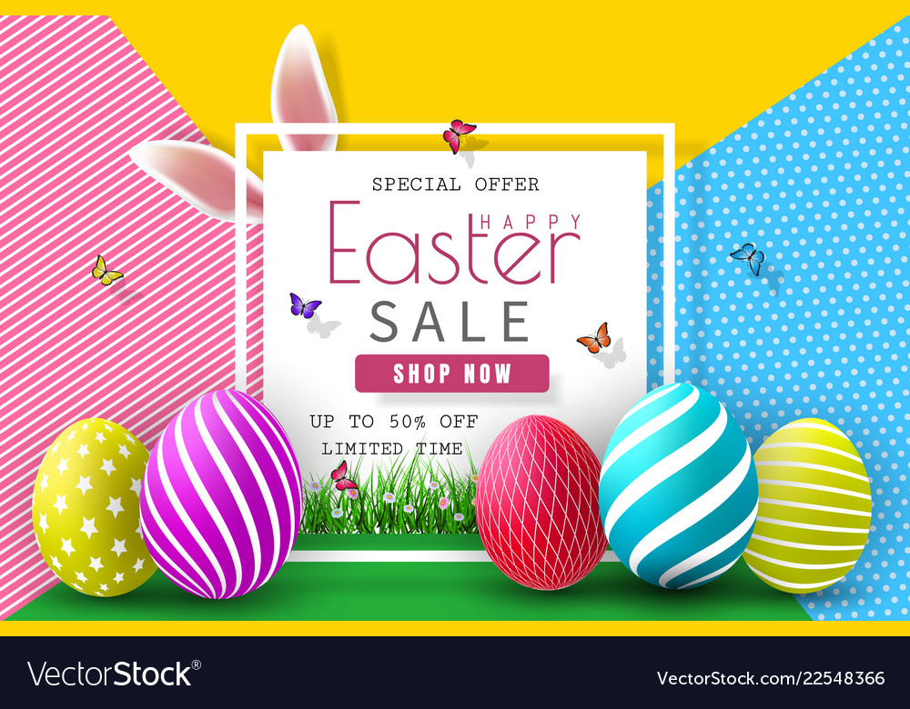 Easter sale with color painted egg and typography