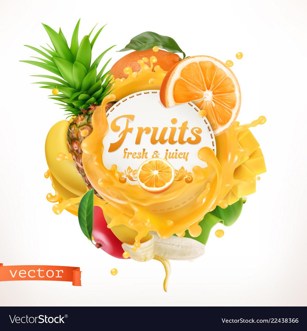 Fruits 3d label