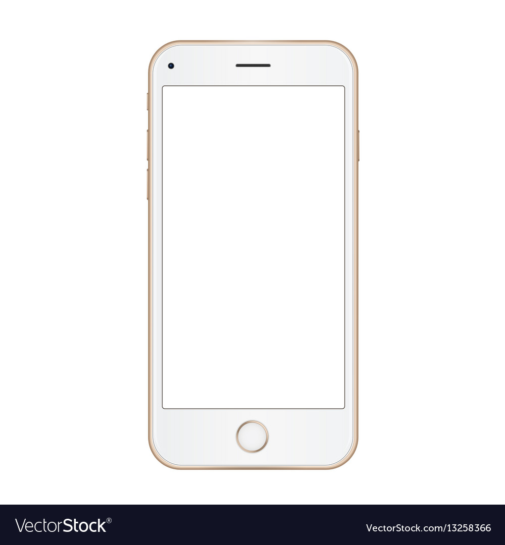 Gold frame mobile phone with empty screen Vector Image
