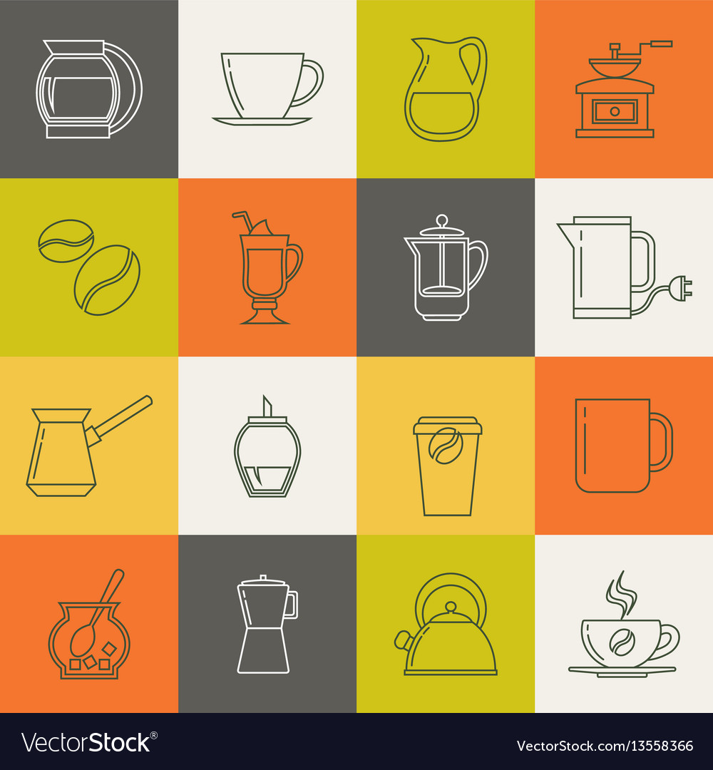 Multicolor coffee thin line icons set