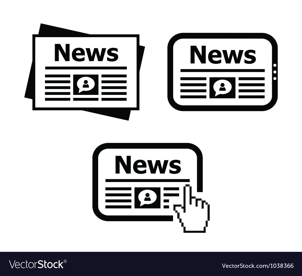 Newpaper news on tablet icons set vector image