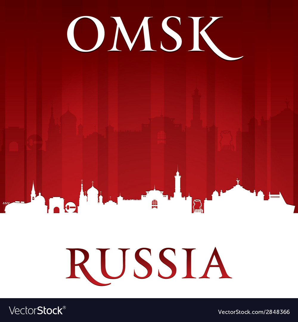 Omsk Russia city skyline silhouette