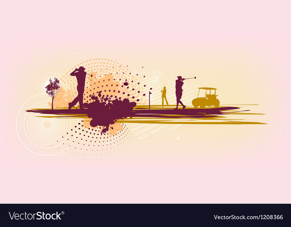 Pink Golf Silhouettes vector image