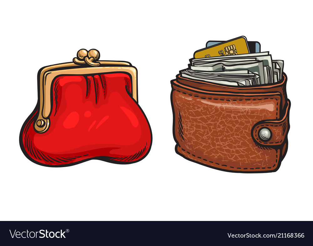 Purse and wallet with money and credit cards