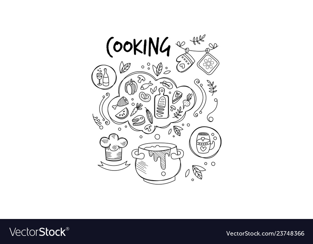 Sketch of ingredients and tools for food