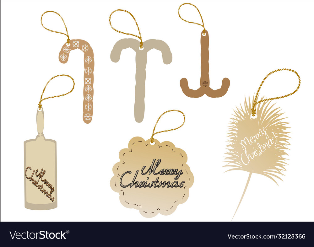 Tag merry christmas icons for web design isolated