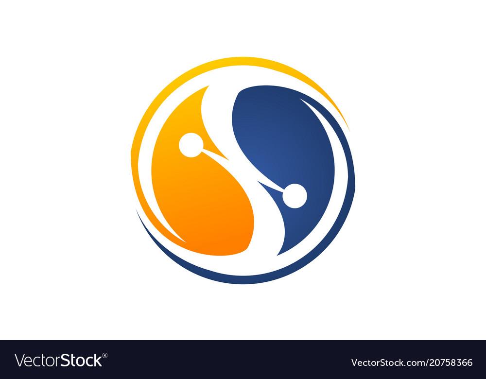 Technology connection logo design template
