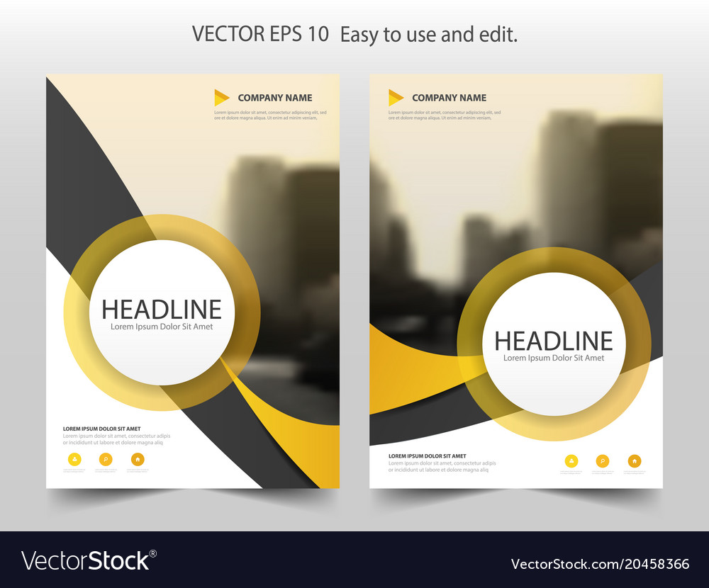 Yellow curve circle brochure flyer annual report vector image