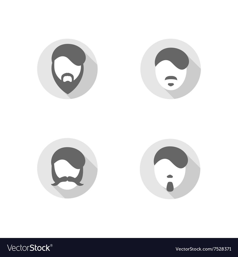 Beard flat design icons vector image