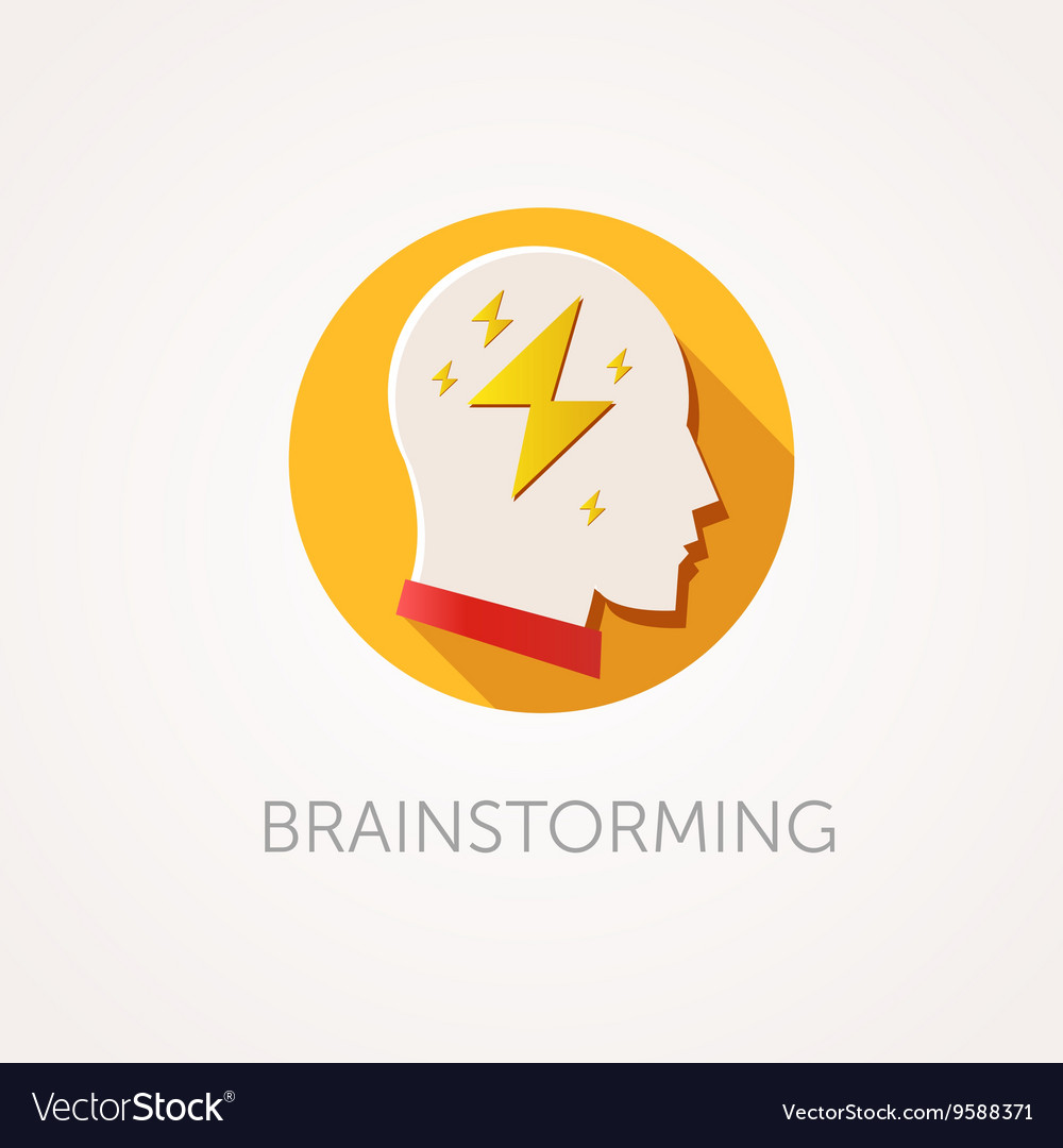 Brain Storming Icon Flat design style with long